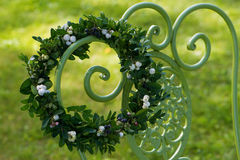 Wreath of boxwood branches Stock Image