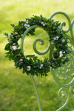 Wreath of boxwood branches Royalty Free Stock Images