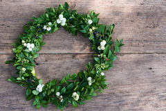 Wreath of boxwood branches Stock Photos