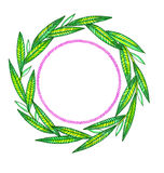 Wreath of branches hand-drawn on white. Illustration wreath of branches, hand painted isolated on white background Stock Image