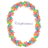 Wreath of bright autumn leaves Stock Images