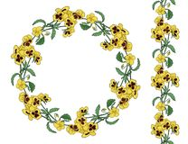 Wreath and brush of pansy flowers. royalty free illustration