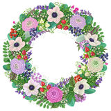 Wreath with buttercup and  anemone. Royalty Free Stock Photo