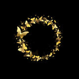 Wreath of butterflies. On a black background Stock Images