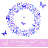 Wreath of butterflies design element template. Stylized wreath made of butterflies in delicate violet and pink hues. Design element with set of butterflies Stock Photos