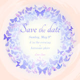 Wreath of butterflies invitation template. Vintage invitation template in delicate pastel hues. Detailed wreath of butterflies on watercolor imitation background Royalty Free Stock Images