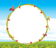 Wreath with butterflies and red flowers Royalty Free Stock Images
