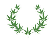 Wreath of cannabis. Picture of the wreath from the leaves of cannabis Royalty Free Stock Photo