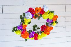 Wreath at Ceilling. Low angle shot of colored wreath with roses at ceiling stock photography