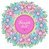 Wreath of chamomile flowers, vector floral background, round flower frame, border. Drawn buds pink and blue chamomile Stock Photos