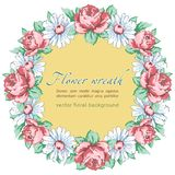 Wreath of chamomile and rose flower, vector floral background, round flower frame, border. Drawn bud pink rose flower Royalty Free Stock Photo