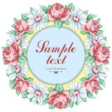 Wreath of chamomile and rose flower, vector floral background, round flower frame, border. Drawn bud pink rose flower Stock Photo