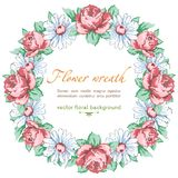 Wreath of chamomile and rose flower, vector floral background, round flower frame, border. Drawn bud pink rose flower Royalty Free Stock Photography
