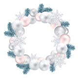 Wreath of Christmas balls, fir twigs, snow-flakes. A festive wreath of Christmas balls, pine twigs and snow-flakes. Silver, green and pink. Vector realistic Royalty Free Stock Photography
