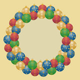 Wreath from christmas balls Royalty Free Stock Photos