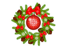 Wreath. Christmas wreath,decorated with bows and cones,isolated on white background Royalty Free Stock Image