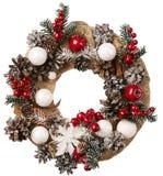 Wreath Christmas Decoration White Isolated, Holiday Burlap Decor. Wreath Christmas Decoration White Isolated, Cone Berry Burlap Cloth, Holiday Decor Stock Photo