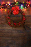 Wreath with christmas lights Royalty Free Stock Image