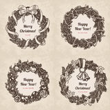 Wreath Christmas New Year handdrawn engraving style template. Hand drawn wreath holiday set. Happy New Year and Merry Christmas handdrawn engraving style Stock Illustration