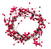 Wreath of christmas stars and berries Royalty Free Stock Photo