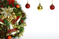 Wreath and Christmas tree ornaments Royalty Free Stock Image