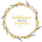 Wreath, circle frame border with yellow dry wildflowers and lavender flowers vector illustration