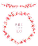 A wreath (circle frame) and frame border with the watercolor red floral branches on a white background Stock Image