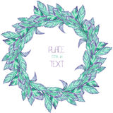 A wreath (circle frame) with the watercolor blue and violet leaves (basil) on a white background Stock Photo