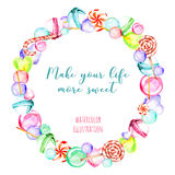 Wreath, circle frame with watercolor candies and lollipop Royalty Free Stock Photos