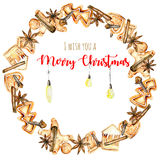 Wreath, circle frame with watercolor gingerbreads and spices & x28;cinnamon, anise star and cloves& x29;. Hand drawn on a white background Royalty Free Stock Photo