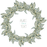 A wreath (circle frame) with the watercolor grey leaves (basil) on a white background Stock Photos