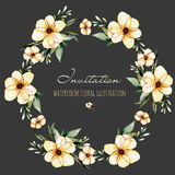 Wreath, circle frame with watercolor pink flowers and green leaves Royalty Free Stock Photo