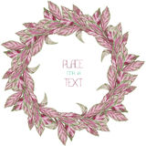 A wreath (circle frame) with the watercolor purple and violet leaves (basil) on a white background Royalty Free Stock Images