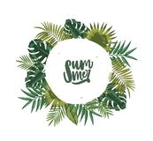 Wreath or circular garland made of palm tree leaves or foliage of tropical plants and lettering Summer inside royalty free illustration