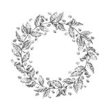 Wreath from coffee beans and berry Royalty Free Stock Photography