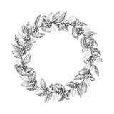 Wreath from coffee beans and berry Royalty Free Stock Photos