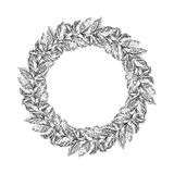 Wreath from coffee beans and berry. In graphic style sketch stock illustration