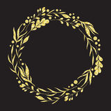 Wreath with collection decorative floral design elements with golden glitter foil texture. Royalty Free Stock Images