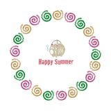 Wreath with colorful mosquito coils and pig shaped holder. Summer greeting Stock Images