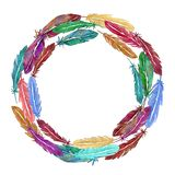 Wreath of colorful watercolor feathers. Hand drawn vector illustration