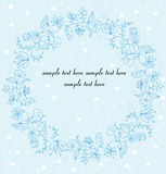 A wreath of the colors of Christmas with nahom and snowflakes. Decorative vector background with flowers wreath and text Royalty Free Stock Images