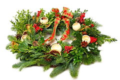 Wreath from conifers Royalty Free Stock Photo
