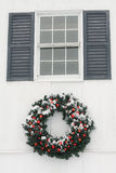 Wreath Covered in Snow Stock Photo