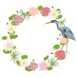 Wreath with crane bird and water lily. Oriental motif. Vintage vector illustration in watercolor style Royalty Free Stock Image