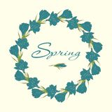 Wreath with crocus spring flowers Royalty Free Stock Images