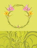 Wreath with crocuses on the ornamental background Stock Photography
