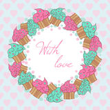 Wreath from cupcakes. With love card. Stock Images