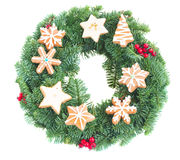 Wreath decorated with christmas  cookies Royalty Free Stock Images