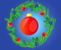 Wreath decorated varicoloured ball Stock Images