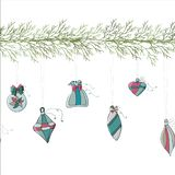 Christmas tree garland with Christmas toys vector illustration